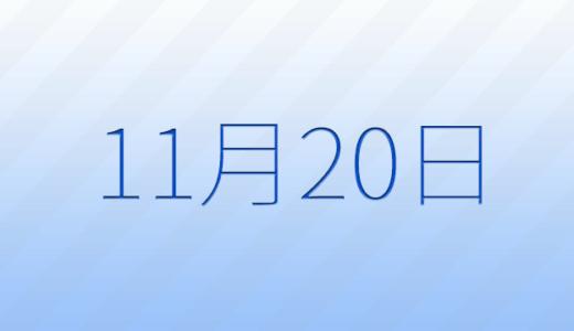 11月20日は何の日?記念日、出来事、誕生日占い、有名人、花言葉などのまとめ雑学