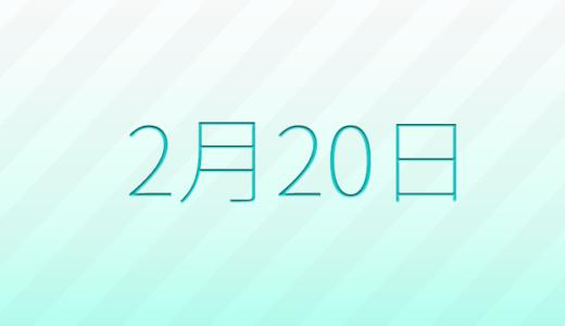 2月20日は何の日?記念日、出来事、誕生日占い、有名人、花言葉などのまとめ雑学