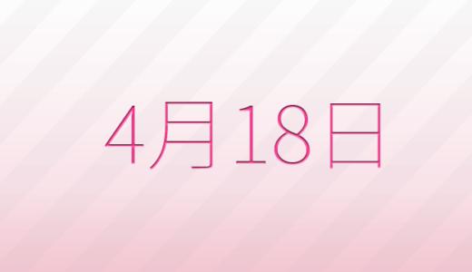4月18日は何の日?記念日、出来事、誕生日占い、有名人、花言葉などのまとめ雑学