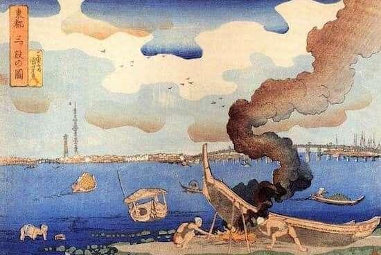 歌川国芳作『東都三ツ股の図』