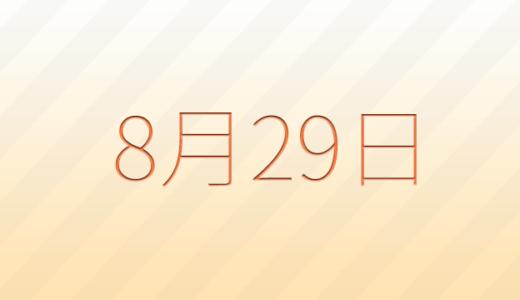 8月29日は何の日?記念日、出来事、誕生日占い、有名人、花言葉などのまとめ雑学