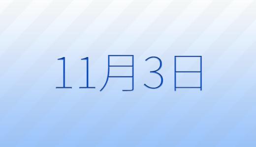 11月3日は何の日?記念日、出来事、誕生日占い、有名人、花言葉などのまとめ雑学