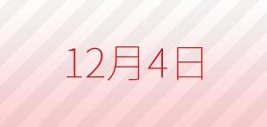 今日は何の日?12月4日の記念日、出来事、占い、誕生日の有名人、花言葉などの雑学まとめ