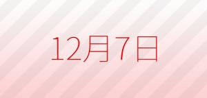 今日は何の日?12月7日の記念日、出来事、占い、誕生日の有名人、花言葉などの雑学まとめ