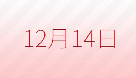 12月14日は何の日?記念日、出来事、誕生日占い、有名人、花言葉などのまとめ雑学
