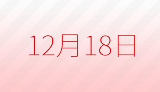 12月18日は何の日?記念日、出来事、誕生日占い、有名人、花言葉などのまとめ雑学