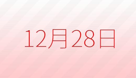 12月28日は何の日?記念日、出来事、誕生日占い、有名人、花言葉などのまとめ雑学